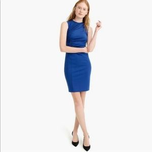 NWT J Crew 365 Ruched Sheath Dress Blue 10